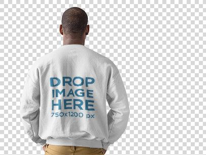 Back Shot of a Black Man Wearing a Crewneck Sweater Mockup at a Studio a9818b
