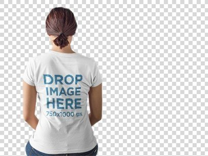 Mockup of the Back of a Girl Wearing a Tshirt while Sitting a9899b