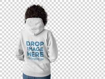 Back Mockup of a Curly Haired Woman Wearing a Hoodie Facing a Transparent Backdrop a10271b