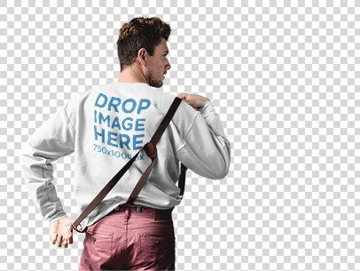 Guy with Suspenders Wearing a Crewneck Sweater Mockup Against a Transparent Backdrop a10006b