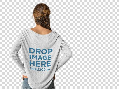 Back of a Girl Wearing a Long Sleeve Tee Mockup Facing a Transparent Backdrop a10113b