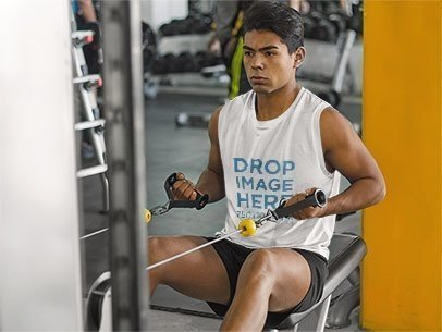 Man at the Gym Working Out Tank Top Mockup a8156