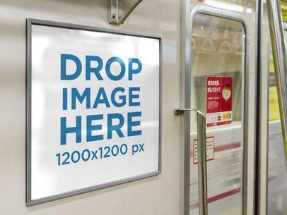 Horizontal Banner Mockup on a Subway a10474