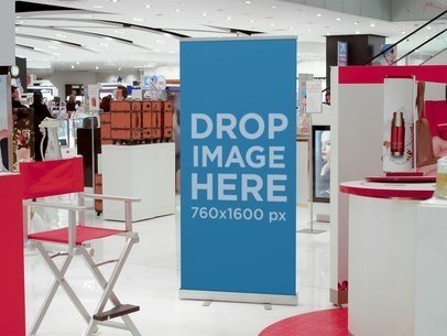 Banner Mockup at a Cosmetics Store a10513