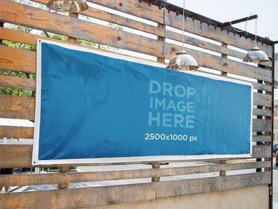 Horizontal Banner Mockup Nailed to a Wooden Wall a10523