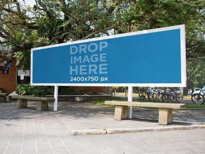 Horizontal Banner Mockup at a University Campus a10571