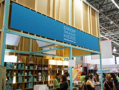 Horizontal Banner Mockup at an Exhibition Stand a10680
