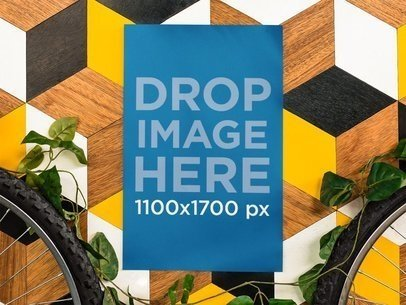 Poster Mockup Taped to a Colorful Wall a10405