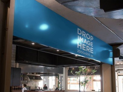 Mockup of a Horizontal Banner at a Coffee Shop a10846