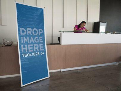 Vertical Banner Mockup at a Lobby a10492