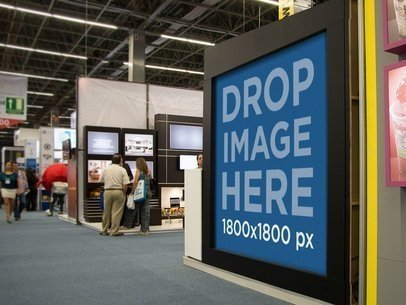 Square Banner Mockup in a Convention Center a10779