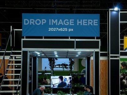 Horizontal Banner Mockup at a Business Expo a11254