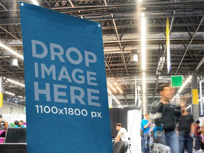 Vertical Banner Close-Up Mockup at a Convention Center a11278