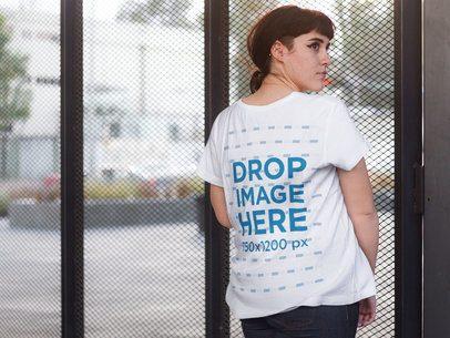 Back Shot of an Alternative Woman Wearing a T-Shirt Mockup a9257b