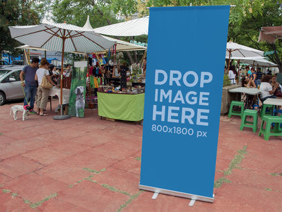 Roll-Up Banner Mockup at an Outdoor Bazaar a10827