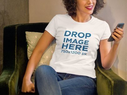 Smiling Black Woman Sitting With Phone T-Shirt Mockup a8355