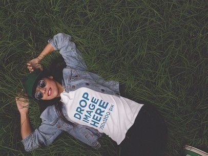 Tee Mockup of a Trendy Girl Lying on the Grass a11736