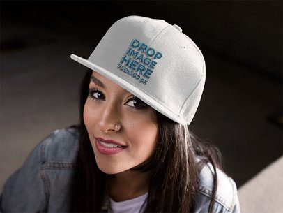 Snapback Mockup Featuring a Young Hispanic Girl Smiling a11713