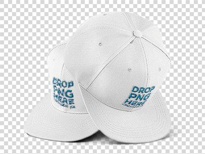 Two Snapback Hats Mockup Over a Null Background 11752