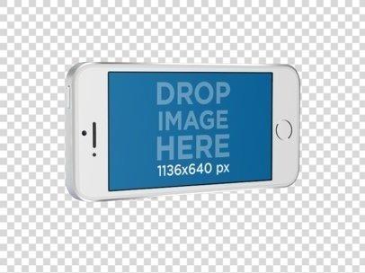 iPhone SE Mockup in Landscape Position Over a Transparent Background a12161