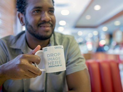Mug Mockup of a Young Man at a Diner a12320