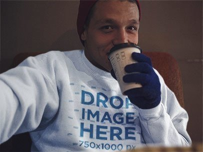 Winter Crewneck Mockup of a Guy Taking a Selfie Indoors a13201