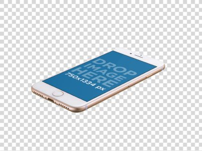 Floating Angled Golden iPhone 7 Over Transparent Background Mockup a14057
