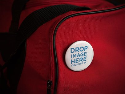 Mockup With a Button on a Red Gym Bag a14329