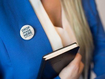 Button on a Blonde Secretary Blue Suit Mockup a14284