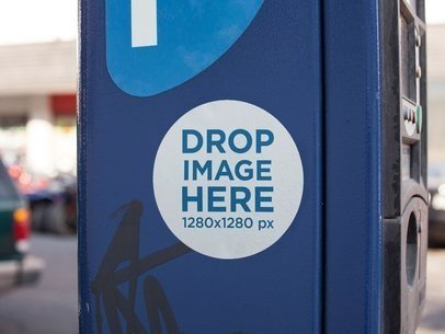 Round Sticker on a Blue Parking Meter Mockup a14341