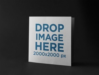 Square Booklet Standing in a Black Environment Mockup a14584