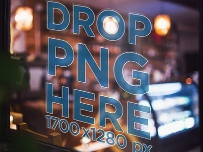 Decal on an Angled Coffee Shop Window Mockup a14432