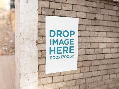 Poster On a Concrete Bricks Wall Mockup a14636