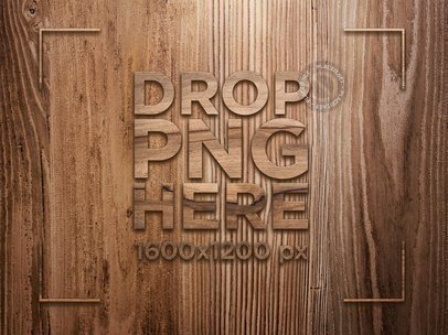 Wooden Logo Template With Horizontal Grain On a Wooden Wall With Vertical Grain a14574