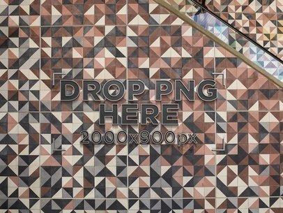 Template of a 3D Logo on an Escalator Mosaic Side Wall a14692