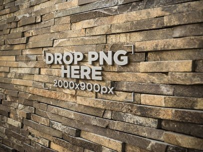 Template of a 3D Metal Logo on a Stone Bricks Wall a14547