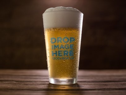 Template of a Pint Beer Glass With Lager on a Wooden Surface a14661