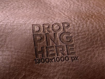 Logo Template Burned Into a Brown Leather Piece a6242