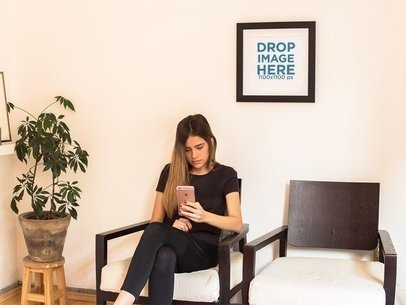 Template of a Framed Art Print on a White Wall of a Waiting Room With a Girl a14674