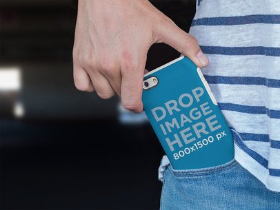 iPhone 6 Case Mockup Being Taken Out of a Pocket a12886
