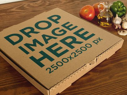 Pizza Box Template Near Ingredients on a Wooden Surface a14792