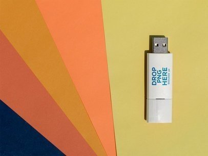 Template of a USB Flash Drive Lying Vertically on a Gradient of Colors a14910