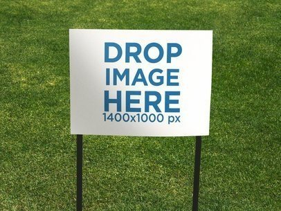 Real Estate Lawn Sign Mockup Against the Grass a14987
