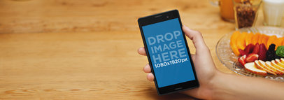 Android Mockup of a Sony Xperia at a Breakfast Scene a4779